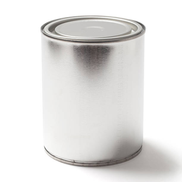 blank tin paint can on white with a clipping path - zinn farbe stock-fotos und bilder
