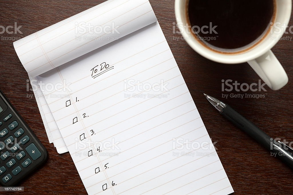 Blank To Do List Notepad on Desk from Above stock photo