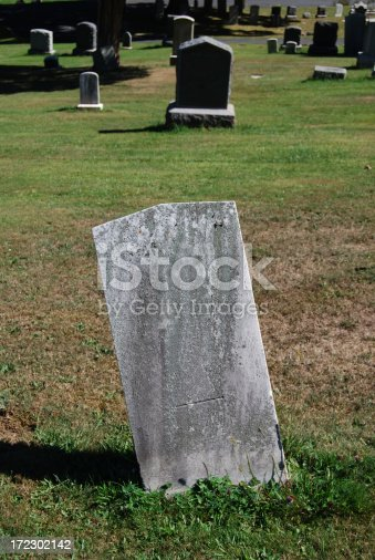 istock Blank Tombstone In Cemetery 172302142