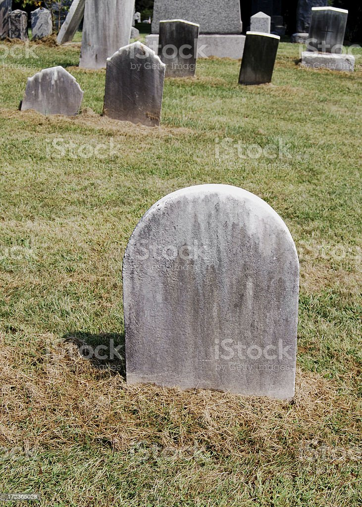 Blank Tombstones In A Cemetery royalty-free stock photo