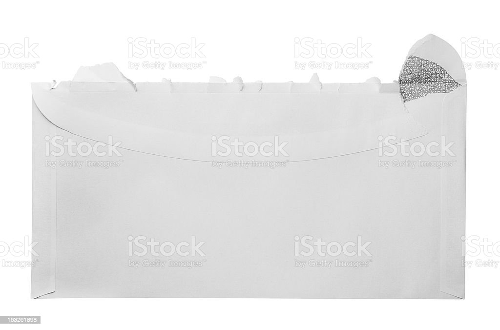 Blank torn open envelope stock photo