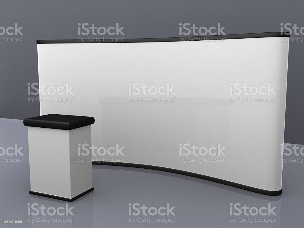 blank trade show booth for designers. stock photo