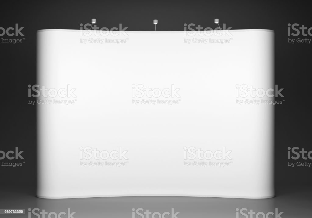 Blank trade show booth on grey background stock photo