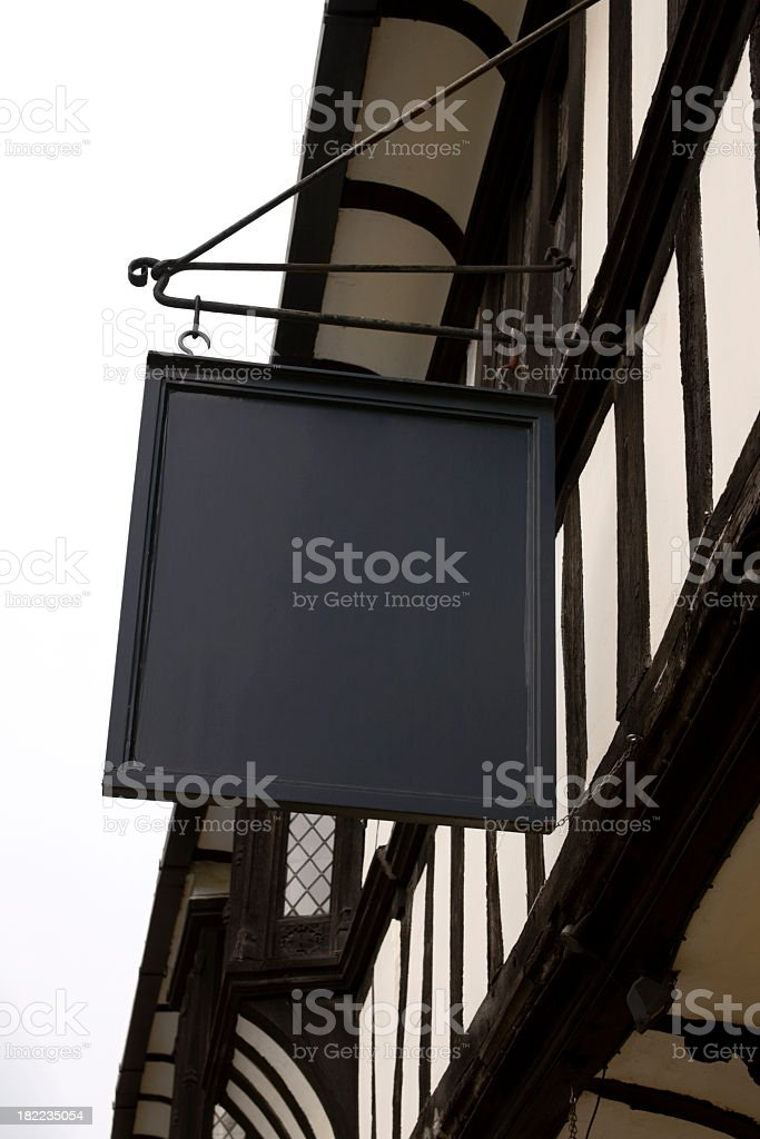 Blank traditional pub name sign stock photo