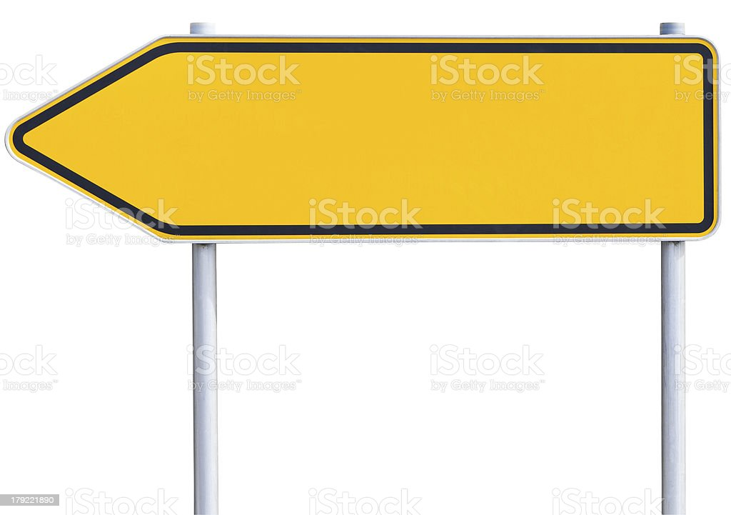 blank traffic sign - left arrow (clipping path included) stock photo
