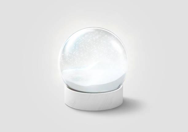 Blank transparent bright snow globe with snowfall mockup, isolated stock photo