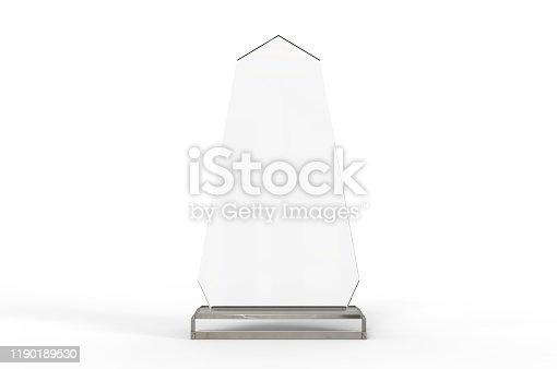 istock Blank Transparent Crystal Trophy for mock up. 3d render illustration. 1190189530
