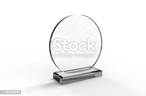 istock Blank Transparent Crystal Trophy for mock up. 3d render illustration. 1190189533