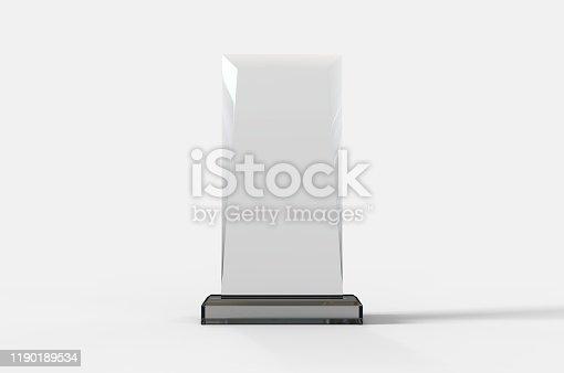 istock Blank Transparent Crystal Trophy for mock up. 3d render illustration. 1190189534