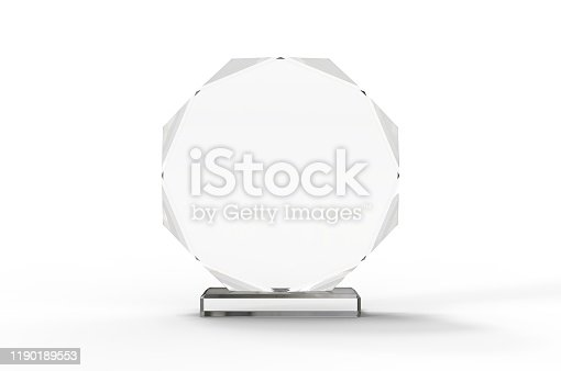 istock Blank Transparent Crystal Trophy for mock up. 3d render illustration. 1190189553