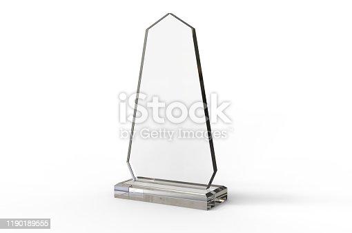 istock Blank Transparent Crystal Trophy for mock up. 3d render illustration. 1190189555
