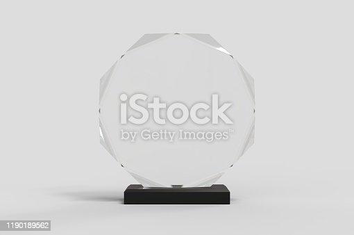 istock Blank Transparent Crystal Trophy for mock up. 3d render illustration. 1190189562