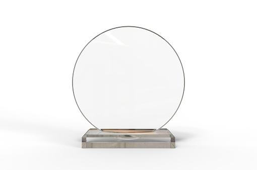 Blank Transparent Crystal Trophy for mock up. 3d render illustration.