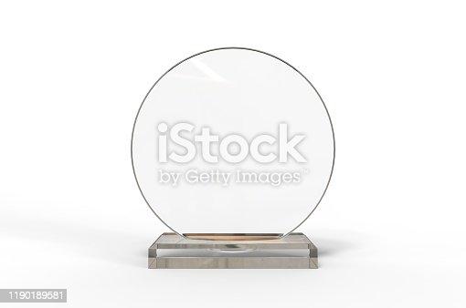 Blank Transparent Crystal Trophy for mock up. 3d illustration.