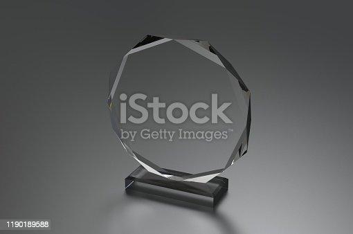 istock Blank Transparent Crystal Trophy for mock up. 3d render illustration. 1190189588