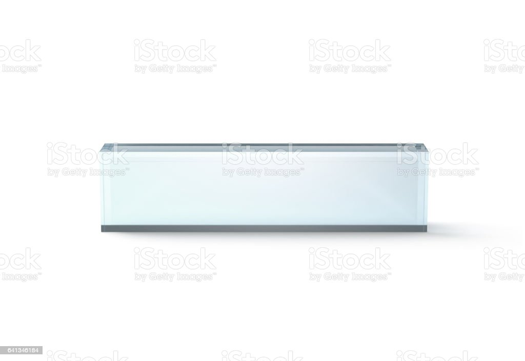 Blank Transparent Glass Desk Block Mockup Front View Royalty Free Stock Photo