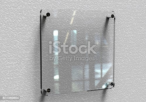 istock Blank transparent glass Interior Office Corporate Signage plate mockup, 3d rendering. Office name plate mock up on the wall. Signage panel, store door template. Clear printing board for branding. 822389854