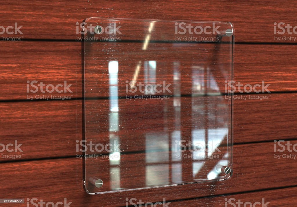Blank Transparent Glass Interior Office Corporate Signage Plate - Office name plate template