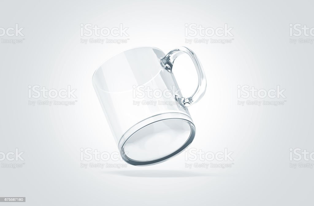 Blank transparent glass mug mock up isolated, no gravity view stock photo