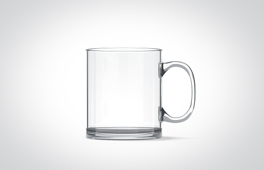 Blank transparent glass mug mockup isolated, 3d rendering. Clear translucent coffee cup mock up for sublimation printing. Empty gift crystal pint branding template. Glassy restaurant tankard design.