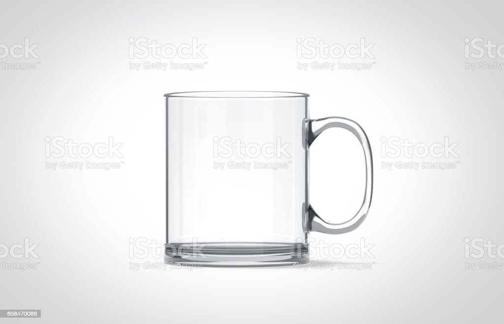 Blank transparent glass mug mockup isolated stock photo