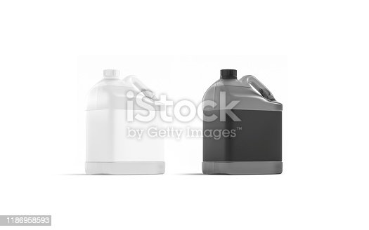 Blank transparent plastic canister with black and white label mockup stand, 3d rendering. Empty washing barrel with sticker mock up, half-turned view. Clear pure aqua jug mokcup template.