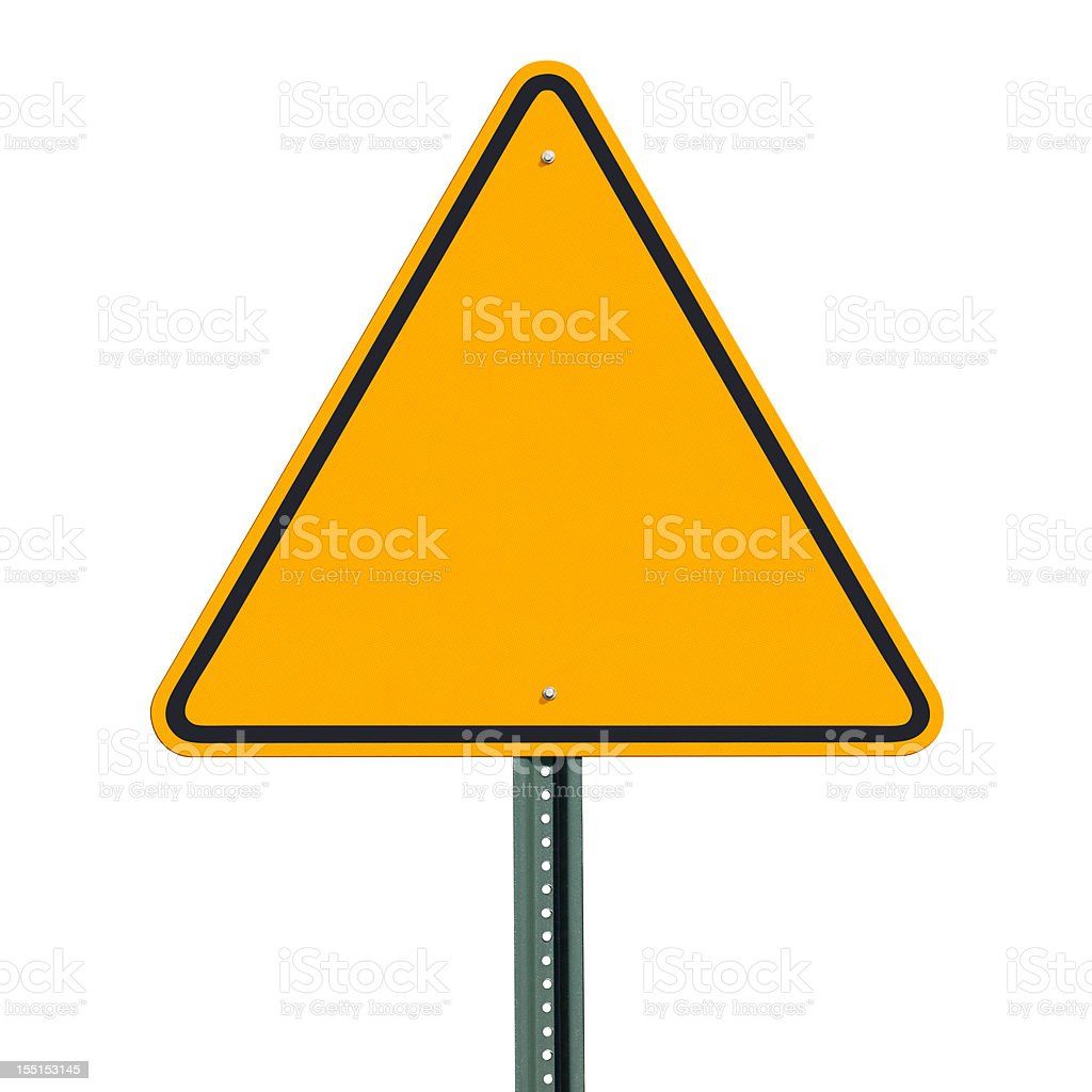 Blank Triangular Warning Sign Post Isolated with Clipping Path stock photo