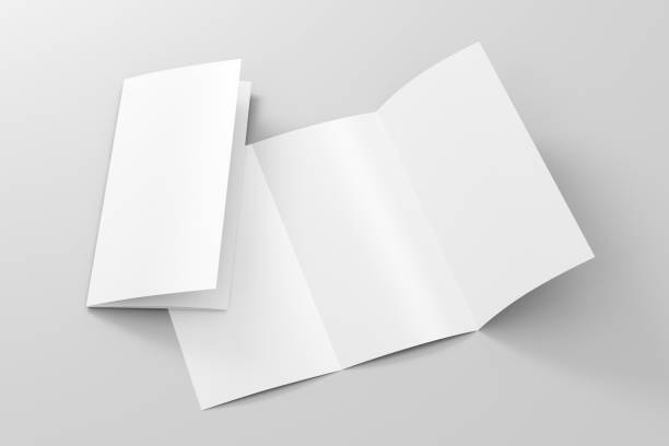 Blank trifold brochure A4 booklet stock photo