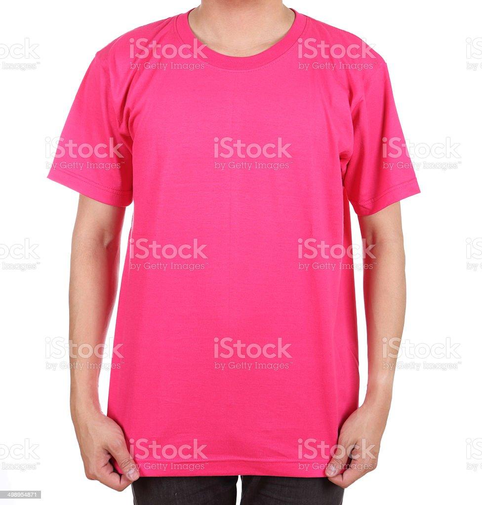 blank t-shirt on man stock photo
