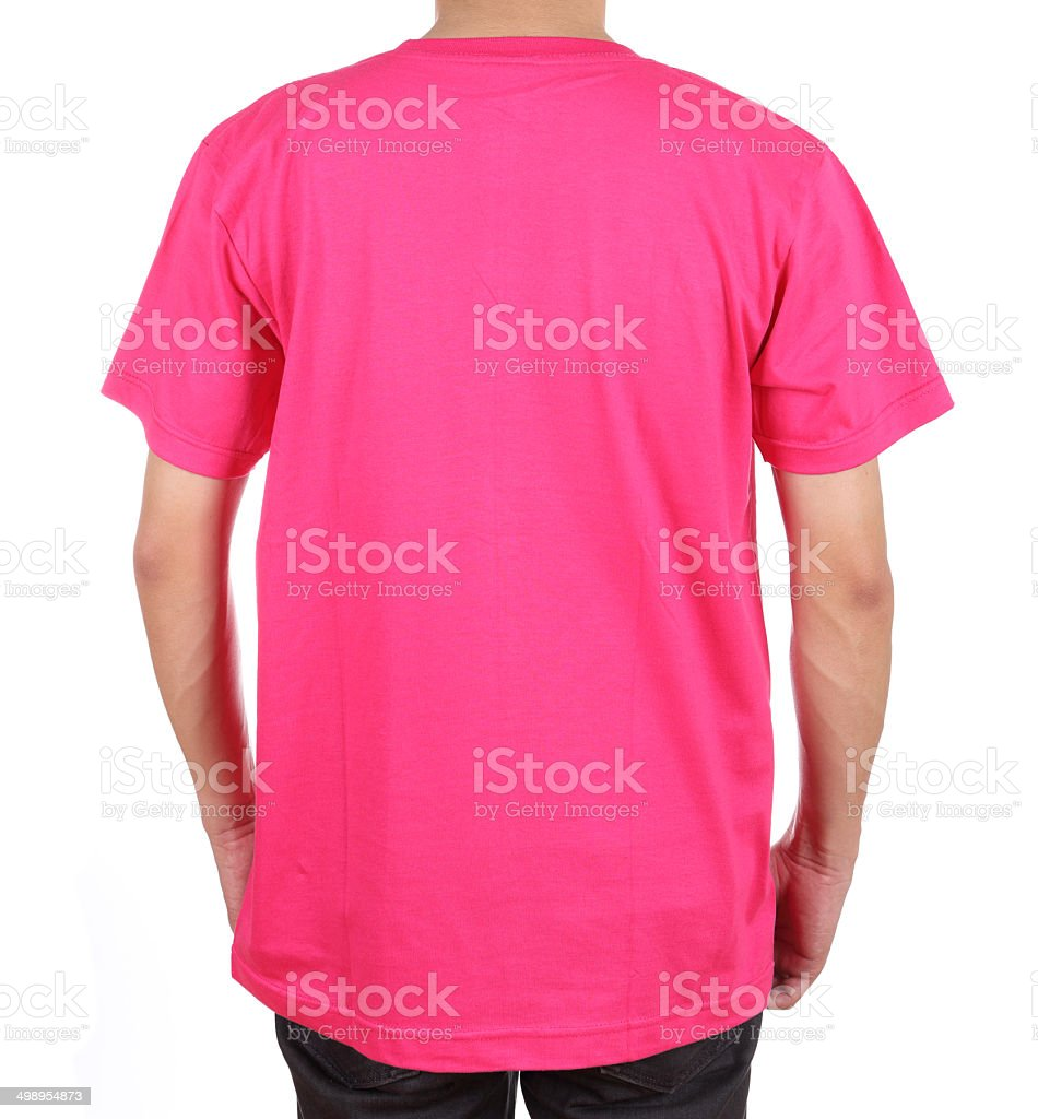 blank t-shirt on man (back side) stock photo