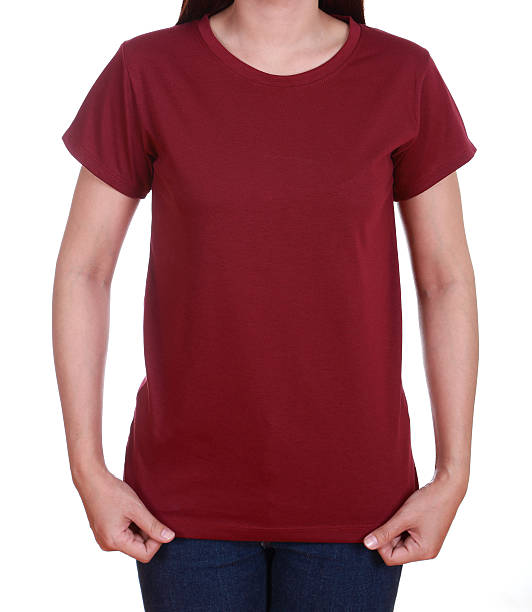 blank t-shirt on woman blank red t-shirt on woman isolated on white background red shirt stock pictures, royalty-free photos & images