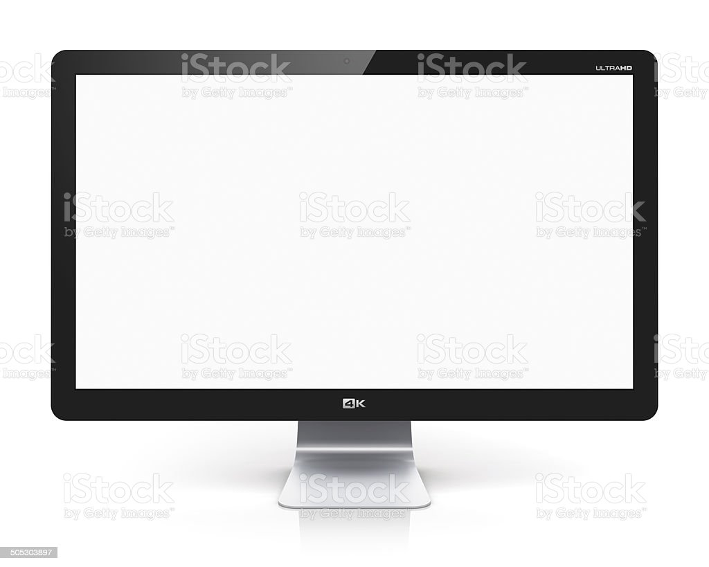 Blank TV or computer monitor stock photo