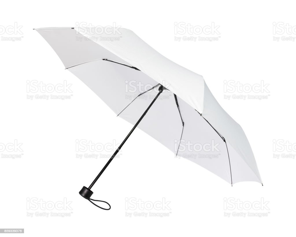 Blank Umbrella Isolated On White Background Portable Parasol For