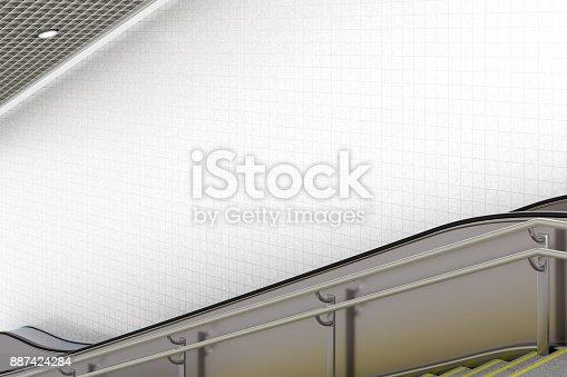 istock Blank underground escalator wall 887424284