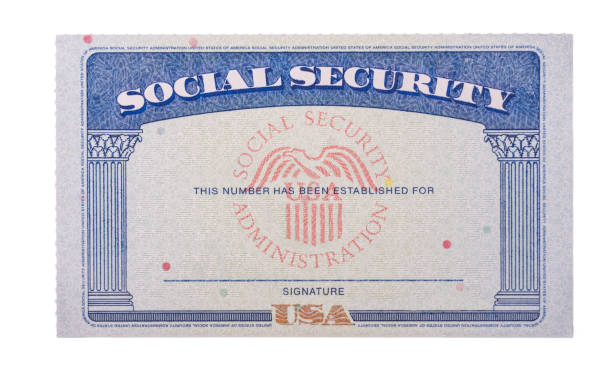 Blank USA social security card isolated against white background stock photo