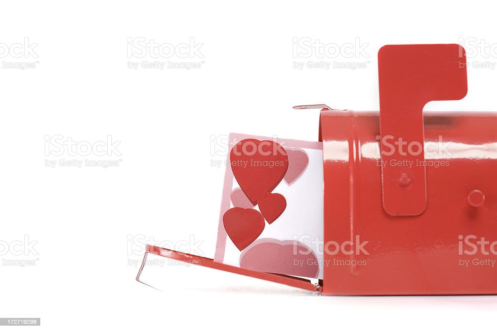 Blank Valentines Card in Red Mailbox on White, Copy Space stock photo