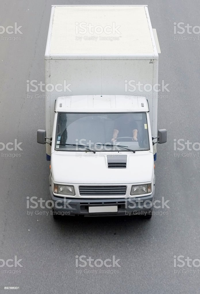 Blank van truck isolated on a white background royalty-free stock photo