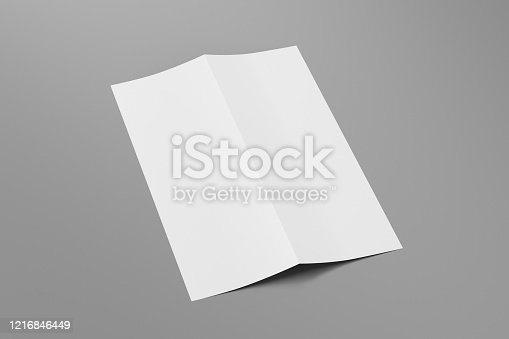 1172913654 istock photo Blank vertical a4 leaflet cover. Bi-fold or half-fold brochure isolated with clipping path. 1216846449
