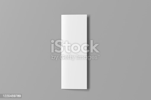 1172913654 istock photo Blank vertical a4 leaflet cover. Bi-fold or half-fold brochure isolated with clipping path. 1220459789