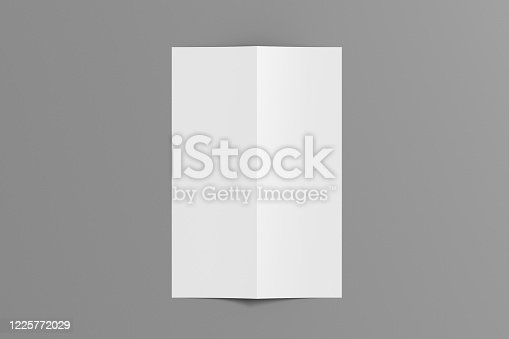 1172913654 istock photo Blank vertical a4 leaflet cover. Bi-fold or half-fold brochure isolated with clipping path. 1225772029