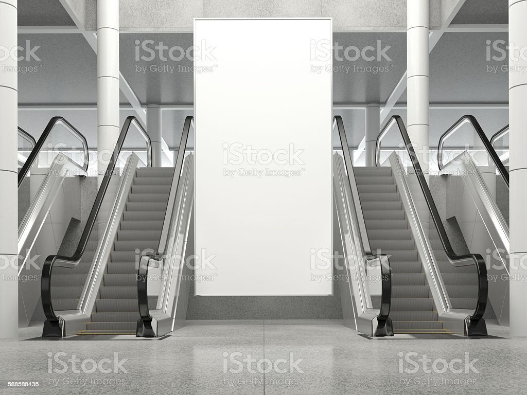 Blank vertical billboard in public place. 3D rendering. stock photo