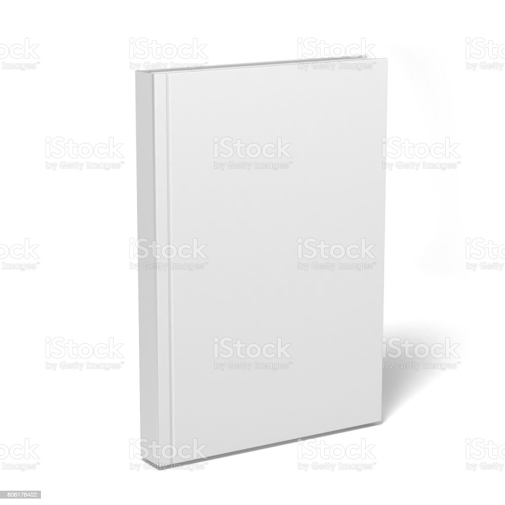 Blank vertical book and magazine cover template with pages in front side standing on white surface Perspective view. - foto stock
