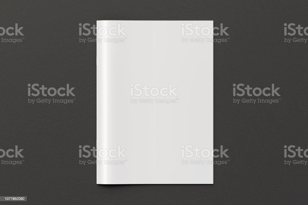 Blank vertical booklet cover on black background with clipping path...