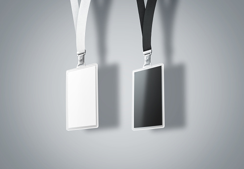 Blank vertical name bagde mockup set, 3d rendering