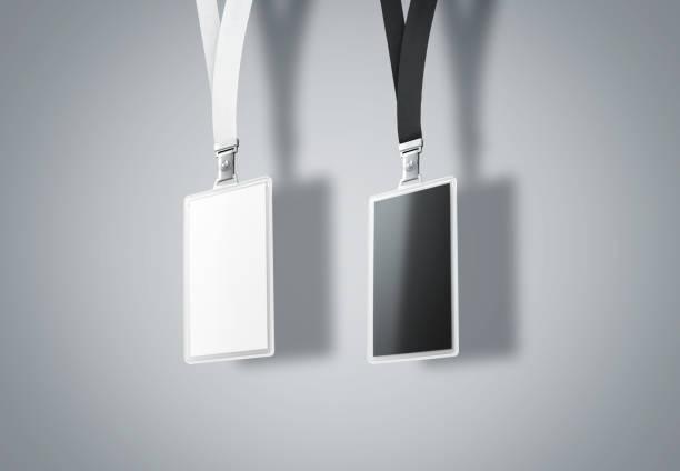 Sistema de nombre vertical en blanco bagde maqueta, render 3d - foto de stock