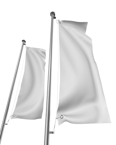 blank vertical realistic flag mock-up on white