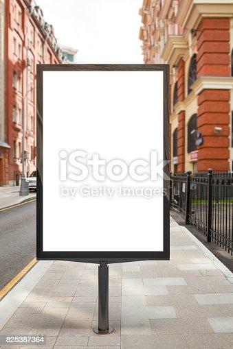 istock Blank vertical street billboard 825387364