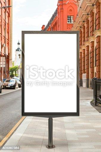 istock Blank vertical street billboard 825387384