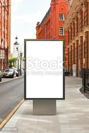 istock Blank vertical street billboard 825387436