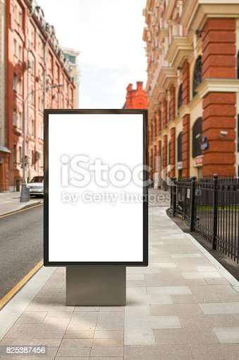 istock Blank vertical street billboard 825387456